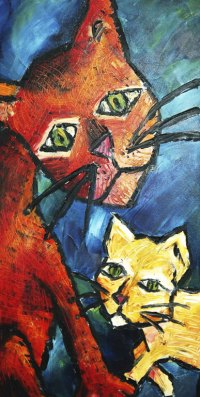 cats 2007 - Painting by Renee Keith