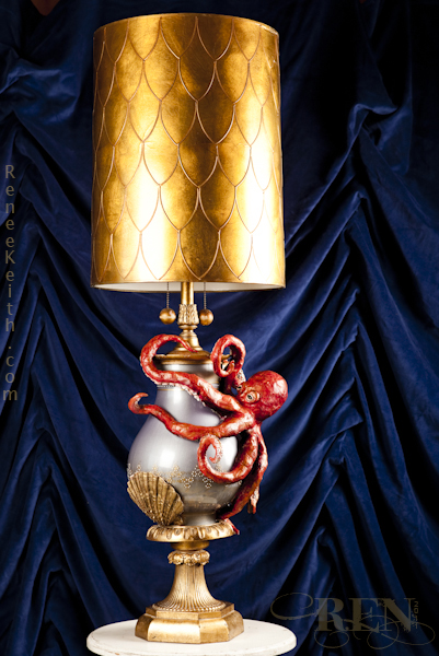 Octopus Lamp Sculpture by Renee Keith 2011