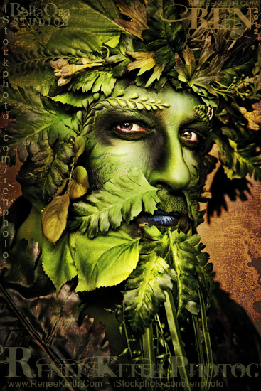 Green Man ~ Makeup and Photography by Renee Keith