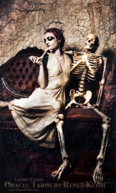 Woman and Skeleton - Limited Edition Tarot Card - Oracle Tarot by Renee Keith