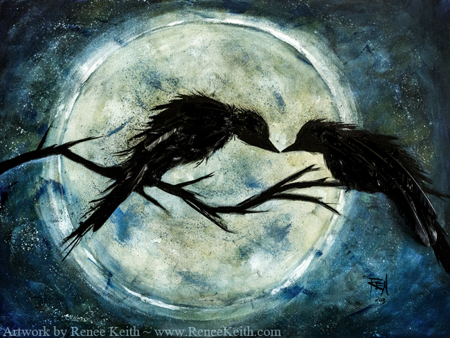 Crow painting by Renee Keith
