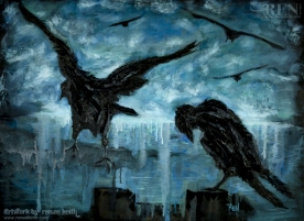30x40 Crow Painting by Renee Keith