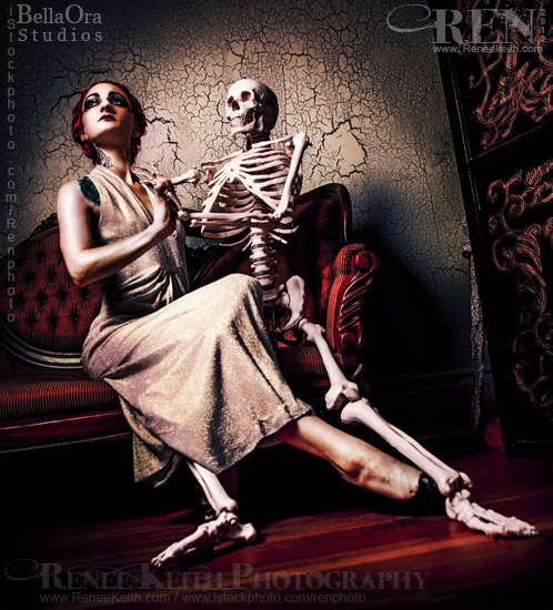 Woman and Skeleton ~ Photography by Renee Keith