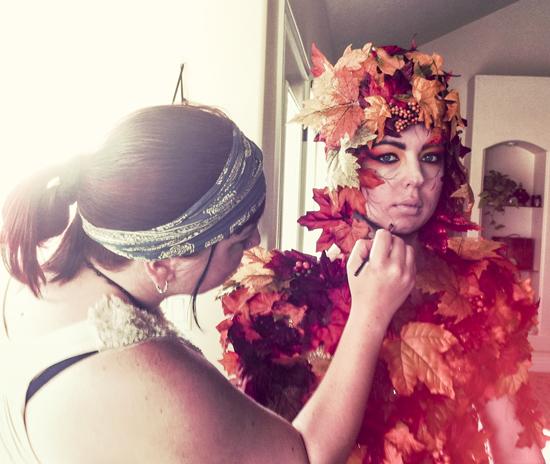 BTS shot of Renee Keith doing Makeup