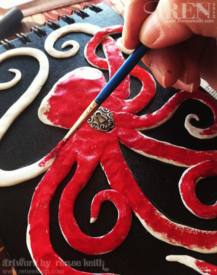 Painting Sculpted Octopus on Book Cover - Art by Renee Keith