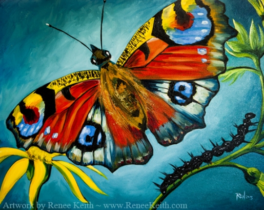 Peacock Butterfly oil painting by Renee Keith