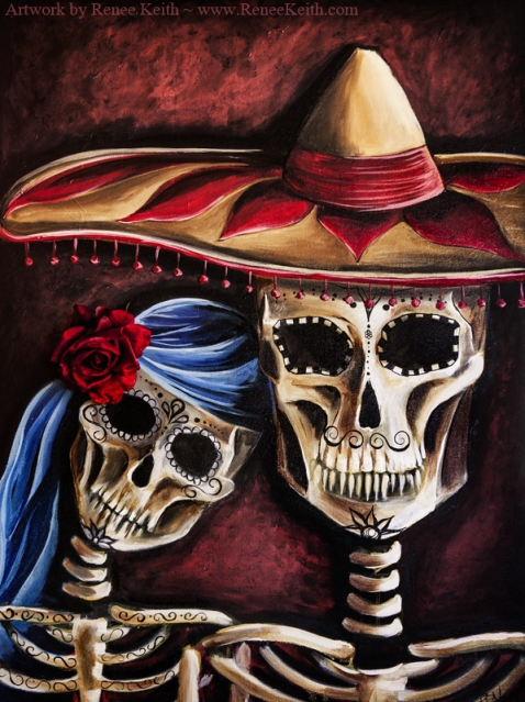 Mexican Sugar Skulls ~ Artwork by Renee Keith
