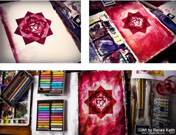 Root Chakra Painting in Progress - Mixed media art by Renee Keith