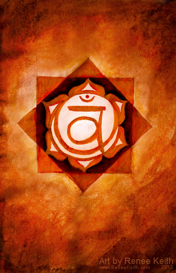 Sacral Chakra Painting by Renee Keith