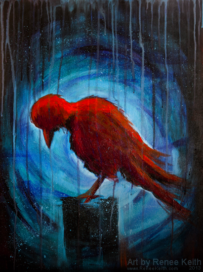 Red Crow Painting by Renee Keith