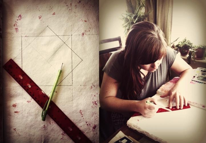 Renee Keith working on Chakra Paintings