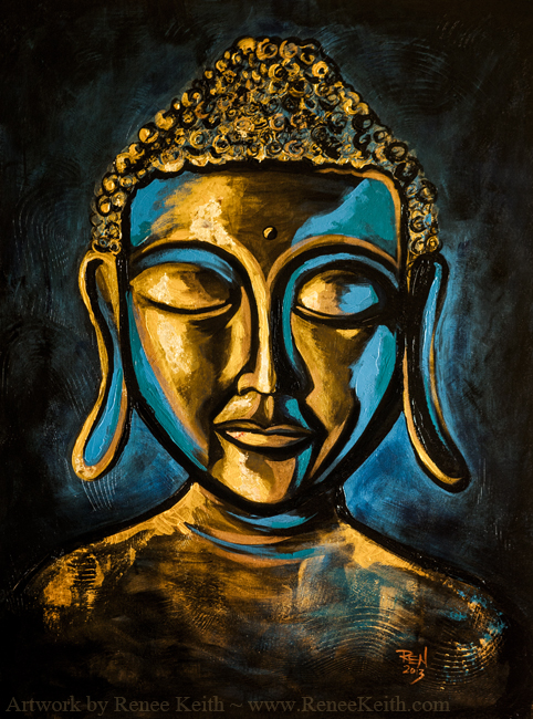 Buddha Face Series (#3) ~ Mixed Media Artwork by Renee Keith.