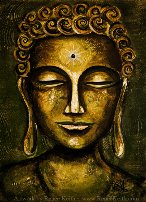 Buddha Face Series (#4) ~ Mixed Media Artwork by Renee Keith.