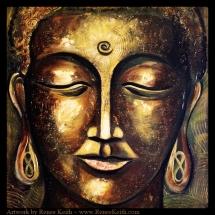 Buddha Face Series (#5) ~ Mixed Media Artwork by Renee Keith.