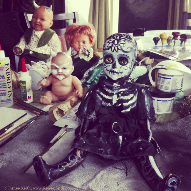 Painted Sugar Skull Dolls - by Renee Keith