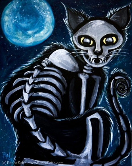 Day of the Dead Cat ~ Artwork by Renee Keith