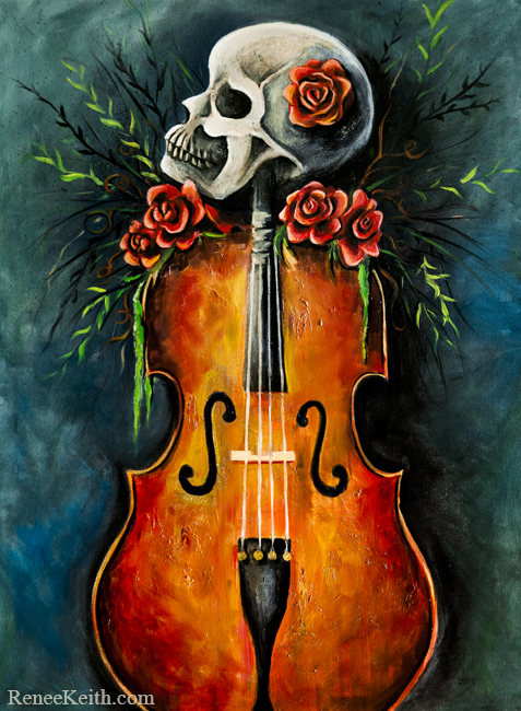 Cello Skeleton ~ Artwork by Renee Keith