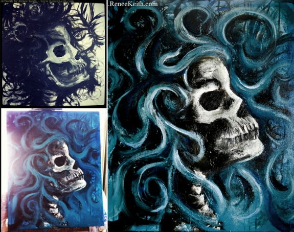 Skeleton Painting Process - Art by Renee Keith