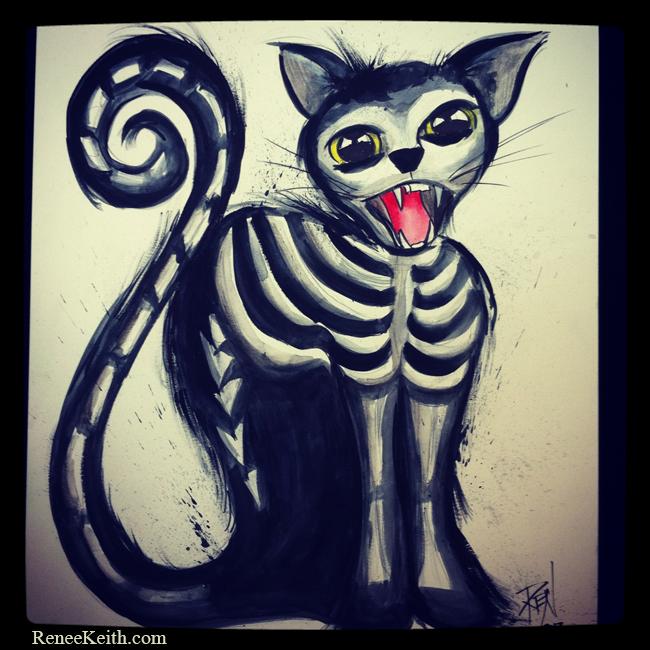 Skeleton Cat ~ Mixed Media Artwork by Renee Ketih