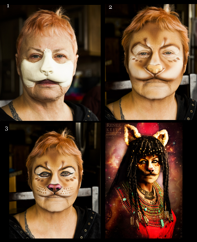 Sekhmet Makeup Process ~ Makeup and Photography: Renee Keith