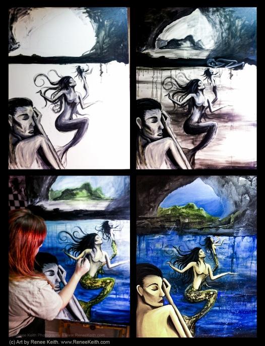 Mermaid Art (painting process) by Renee Keith