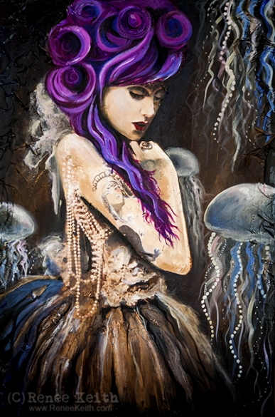 Victorian Woman and Jellyfish ~ Art by Renee Keith
