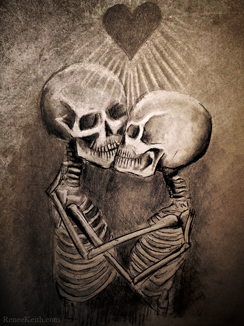 LOVE Skeletons Kissing ~ Artwork by Renee Keith