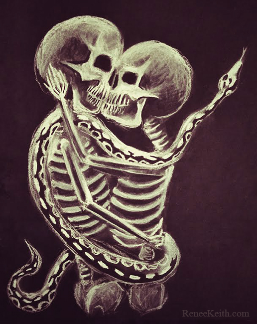 LOVE Skeletons (with snake) Kissing ~ Artwork by Renee Keith
