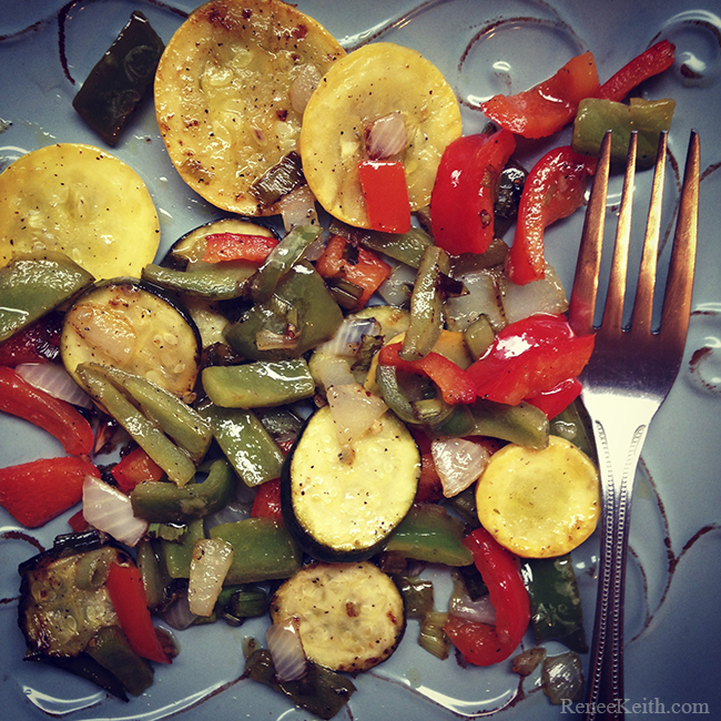 Yellow squash, green zucchini, red and green peppers, onion, garlic, chives, salt & pepper. Sauteed in olive oil, red wine vinegar, and lemon juice.