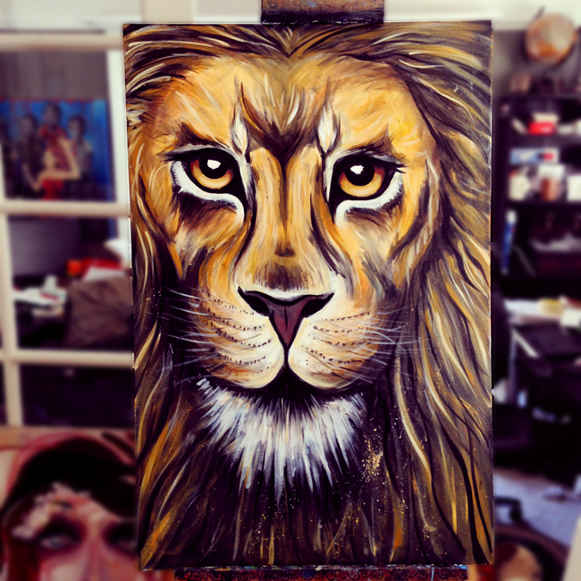 Lion painting work in progress~ Art by Renee Keith