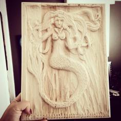 Mermaid Wood Carving by Renee Keith