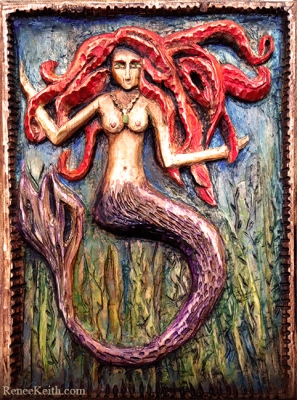Mermaid Wood Carving by Renee Keith