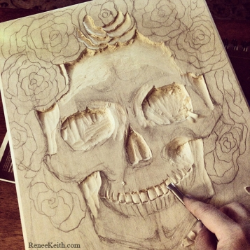 SugarSkull Wood Carving by Renee Keith