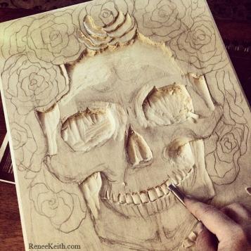 SugarSkull Wood Carving by Renee Keith
