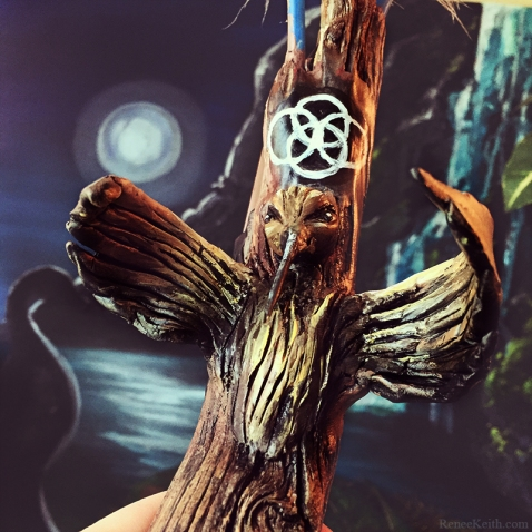 Shamanic crystal feather wand